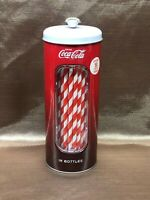 New Coca Cola Strawholder With 50 Red And White Straws