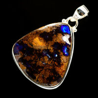 """Boulder Opal 925 Sterling Silver Pendant 1 3/4"""" Ana Co Jewelry P705939F"""