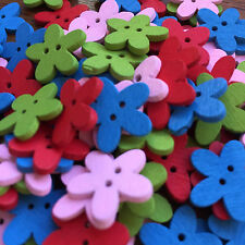 CUTE WOOD DAISY BUTTONS- 2 HOLE PAINTED BUTTONS X 10 (APPROX 16MM)