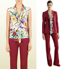 40 NEW GUCCI Floral FLORA Silk Secretary TIE NECK BLOUSE Sleeveless BLOUSE TOP