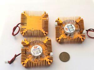 3 Pieces copper 12v 55mm 2PIN Aluminum Cooling Fan Heatsink Cooler VGA CPU A8