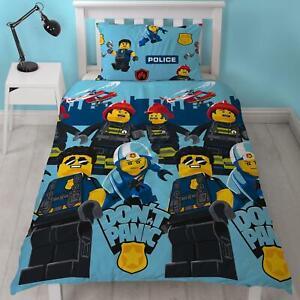 Lego City Panic Single Duvet Cover Set 2-in-1 Design Police Firemen Kids Bedding