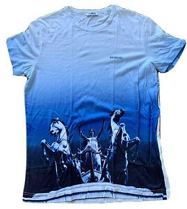 Top BIKKEMBERGS Herren Kurzarm-T-Shirt, Weiss-Blau, mit Quadriga-Aufdruck, Gr.XL