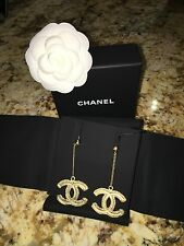 AUTHENTIC CHANEL XL GOLD BAROQUE DROP CC DANGLE CHAIN EARRINGS With Receipt