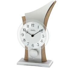 NEU AMS Tischuhr Pendeluhr Alu silber braun Glas Büro Business Schreibtisch Uhr