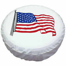 New listing Spare Wheel Cover Tire Covers White Usa Flag For Rv Truck Suv Camper 15inch