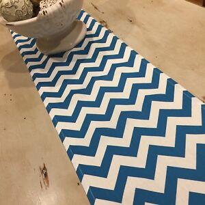 Table Runner, Chevron Teal & White, Heavy Cotton Blend 100-300cm