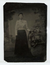TINTYPE BEAUTIFUL WOMAN CURLY TOP HAIR STANDING. FLORAL BONNET PROP.