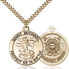 14K Gold Filled St Michael Coast Guard Military Soldier Catholic Medal Necklace