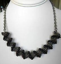 Cellini Spiral Peyote Seed Bead Necklace,Size 15, 11, 8 Drop Beads Grey Burgundy