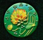 Green Glass with Art Nouveau Style Water Lily 7 8 Vintage Button