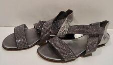 Diamond Collection Stuart Weitzman gris argenté strass lanières Sandales Plates 5.5