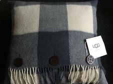 New With Tags UGG Down Pillow Glacier Plaid Ocean Blue & Off White With Fringe
