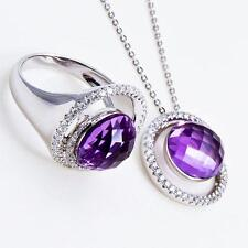 Beautiful 18ct White Gold Ring and Pendant set, Amethyst and Diamonds,Gift Boxed