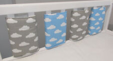 New Babies Grey & Blue & White clouds ☁️ Cot Bar Bumpers (Pack of 8) ☁️