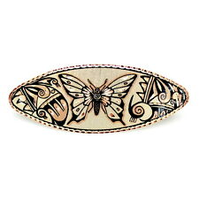"Handcrafted 3.5"" Native American Style Butterfly Copper Art Barrette Hair Clip"