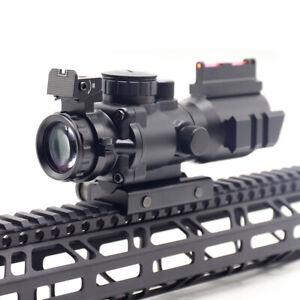 4x32 Tri-illuminated Red/Green/Blue Recticle Scope Fiber Optic Sight Weaver 20mm