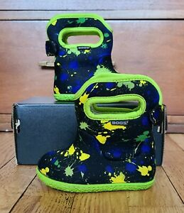 Bogs Baby Boys Size 4 Snow Rain Boots Neoprene Lined Blue Green Paint Multicolor