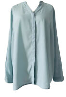 M&S Classic Mint Green Chiffon Blouse Elegant V-Neck Long Sleeves Plus Size 20