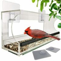 Window Bird Feeders with Sliding Feed Tray for Outside, Hanging Bird Feeder