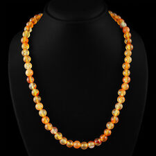 EXCLUSIVE 315.80 CTS NATURAL UNTREATED RICH ORANGE ONYX ROUND BEADS NECKLACE