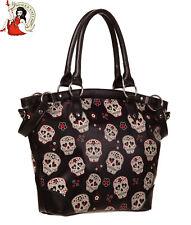 Banned Mesmerise Sugar Skull Bag Alternative Tote Handbag Shoulder Black