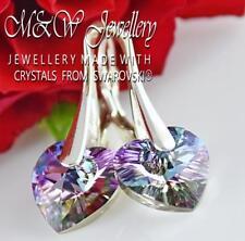 925 Sterling Silver Earrings Crystals From Swarovski® HEART Vitrail Light 10mm