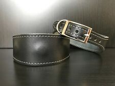 Leather MAGNETIC Dog Collar LINED S/M Whippet Greyhound Lurcher Saluki BLACK