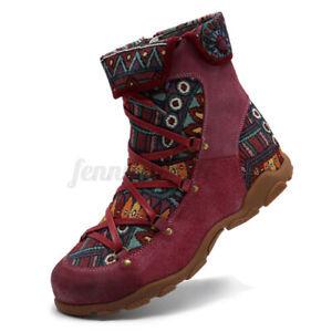 Women Vintage Floral Combat Booties Ladies Comfy Ankle Boots Lace Up Flats Shoes