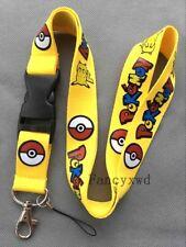 Pokemon Pikachu Breakaway Lanyard  Metal Clip Key Ring 20pcs Yellow