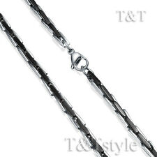 High Polished T&T TwoTone Black Stainless Steel Solid link Chain Necklace (C151)