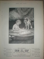 Swan soap boy in bath with dog watching 1900 old art advert