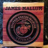 Personalized United States Marine Corps Veteran Cedar Wood Carved Sign