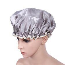 Waterproof Women Shower Cap Bath Hat Salon Hair Cover Elastic Band Layer PnDwH