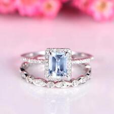 2Ct Emerald Cut Aqua Blue Topaz Synt Diamond Halo Ring Set White Gold Fns Silver