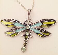 pendentif chaine couleur argent libellule émail couleur cristal vert clair 267