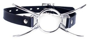 Silver Spider Gag Open Mouth Gag O Ring Leather Mouth Gag Metal Restraint