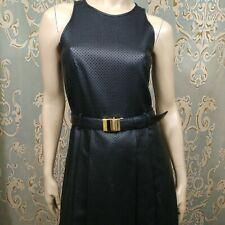 Michael Kors Faux Leather Dress Size 2 Black Sleeveless Belted A Line Preforated