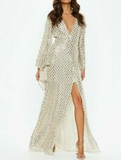 MISSGUIDED Gold Kimono Sequin Wrap Maxi Dress UK 10 US 6  EUR 38  (camg218)