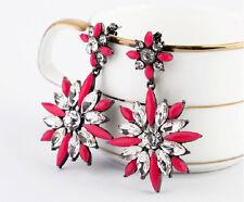 Black Silver Clear White Rhinestone Earrings Flower Sunflower Retro Style Star