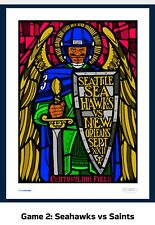 Seahawks GameDay Poster vs Saint Ames Brothers #'d 113/270 Russell Wilson