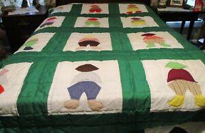 "Vintage Colorful ""Gardener"" Quilt, 25 Hand Made Appliques QUEEN w/ Long Drape"