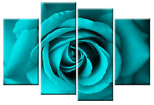 LARGE TURQUOISE ROSE CANVAS FLORAL WALL ART READY- EASY HANG 100 CM wide 4 PANEL