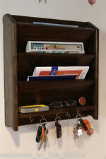 Mail Letter Rack Handcrafted Wood Organizer Key Holder Wall or Desk Blk Jacobean