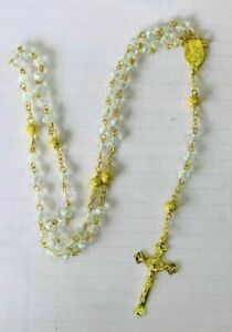 Rosary Of Crl Acrylic Beads With Crucifix In Gold