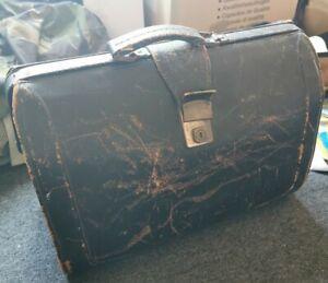 Vintage Cheney Lock Leather Black Briefcase Doctors Bag.