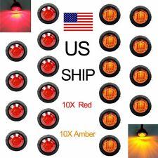 "20X Amber Red 12V 3/4"" Round Side 3 LED Marker Trailer Bullet License Light US"