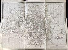 PLAN DE PARIS  1825 AVEC LE TRACÉ DES ANCIENNES ENCEINTES