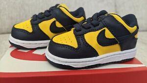 SHIPS TOMORROW Nike Dunk Low Michigan Sz 4C Toddler Varsity Maize TDE CW1589-700