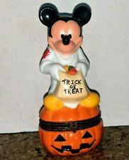 "New listing Disney Mickey Mouse Halloween Trick or Treat trinket porcelain box pumpkin 4"""